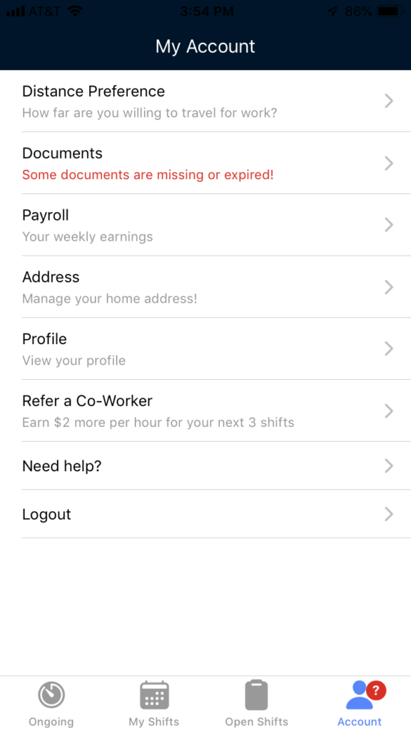 My Account page in Clipboard Health App to show how to update distance preference
