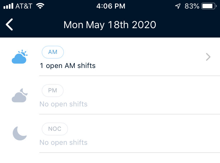 Clipboard Health Open Shifts Select Day