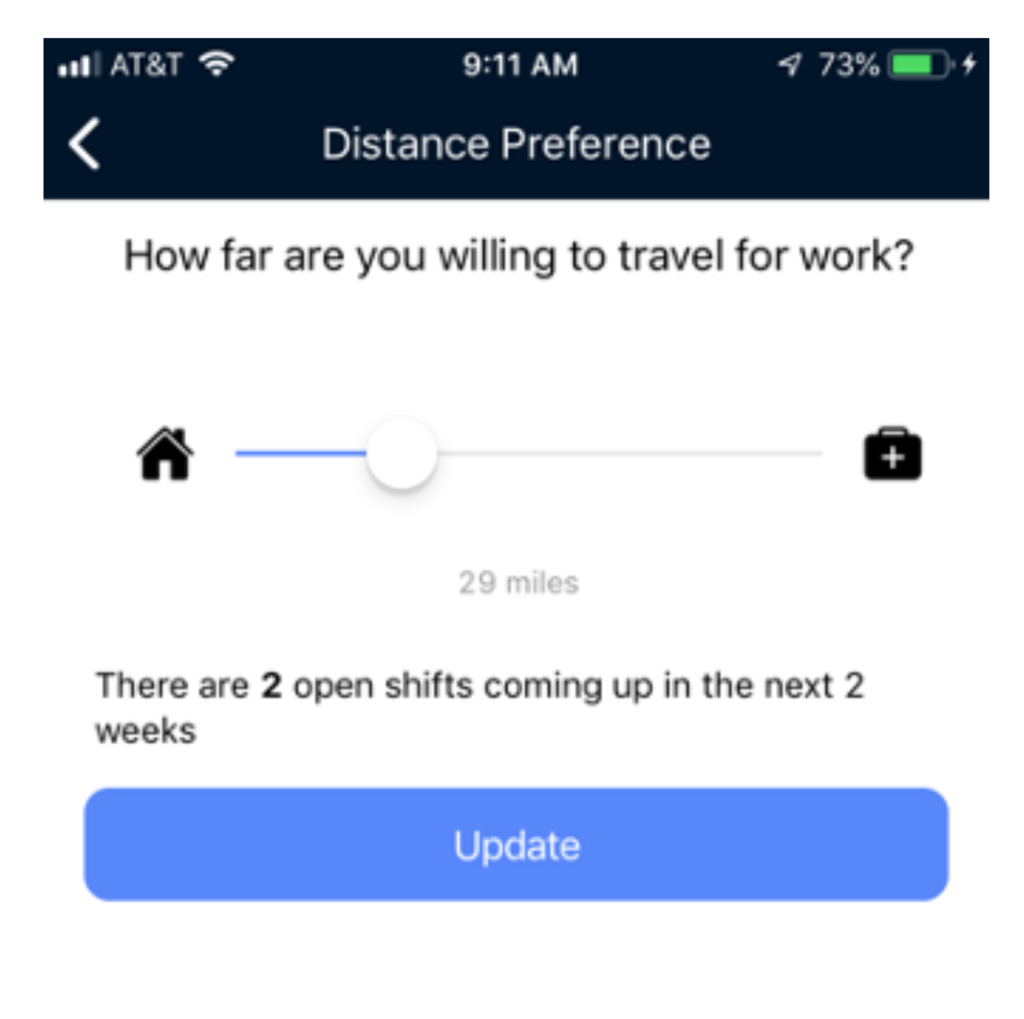 Clipboard Health App Distance Preference
