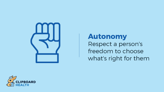 The Four Principles of Health Care Ethics - Autonomy: Respect a person's freedom to choose what's right for them