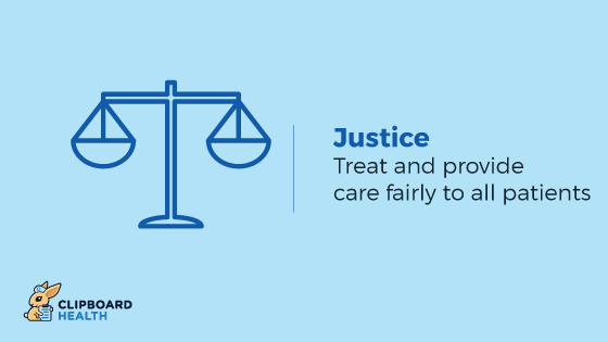 The Four Principles of Health Care Ethics - Justice: Treat and provide care fairly to all patients